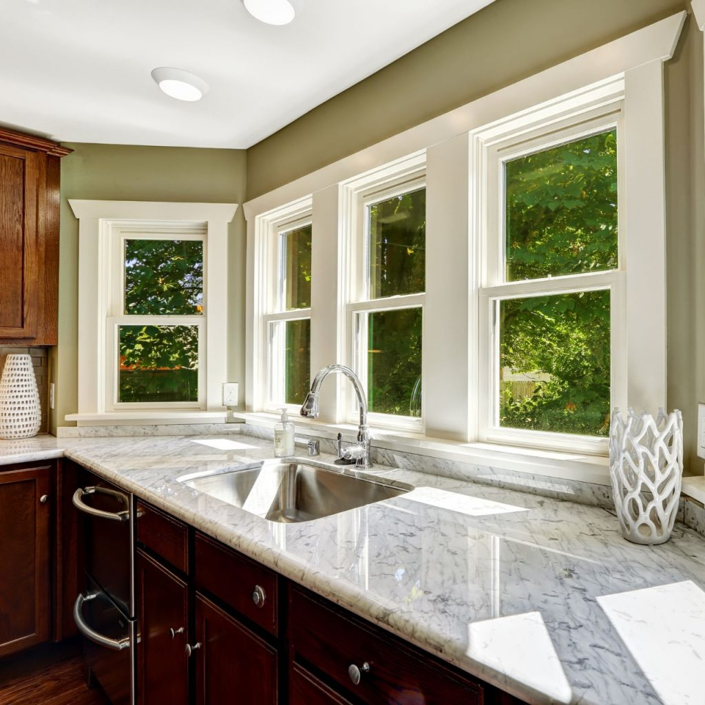 windows in a kitchen